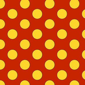 Large yellow dots on red