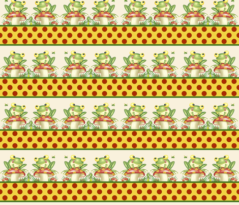 Frogs on Shrooms fabric by whimzwhirled on Spoonflower - custom fabric