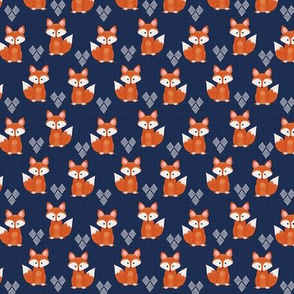 Tiny Painted Foxes over Blue