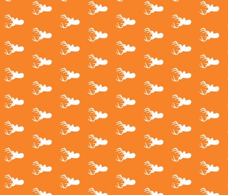 Rotated Orange Deer Heads - Orange Deer fabric by modfox on Spoonflower - custom fabric
