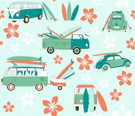 Vintage Surfing fabric by juliesfabrics on Spoonflower - custom fabric