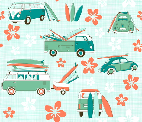 Vintage Surfing fabric by juliesfabrics on Spoonflower - custom fabric