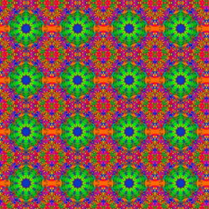 Lime Green and Orange Retro Fractal Pattern