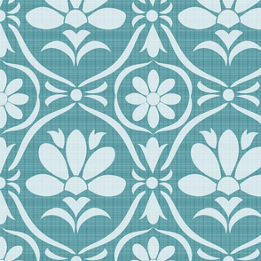 Boston Blue Damask