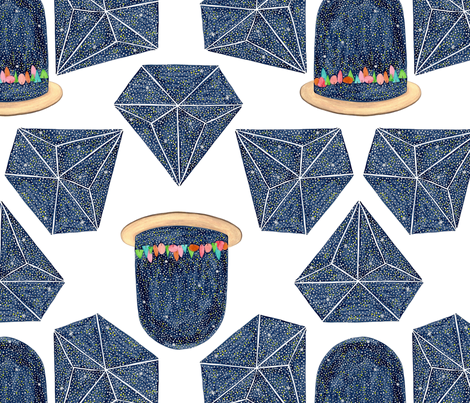 Terrariums & Diamonds fabric by whimsymilieu on Spoonflower - custom fabric