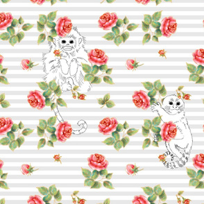 White monkey in the roses