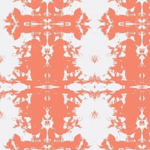 Coral and White Damask