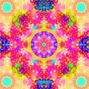 Kaleidoscope Fractal Pink and Yellow