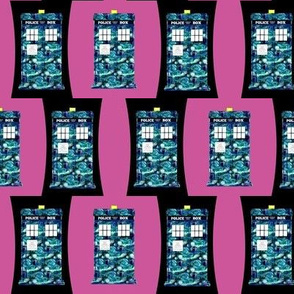 Starry Night Police Boxes on Police Box on Black and Hot Pink