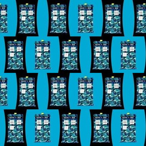 Starry Night Police Boxes on Police Box on Black and Teal Blue