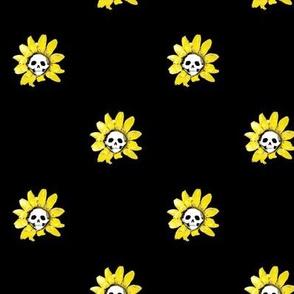 Skull Sunflowers on Black - Medium