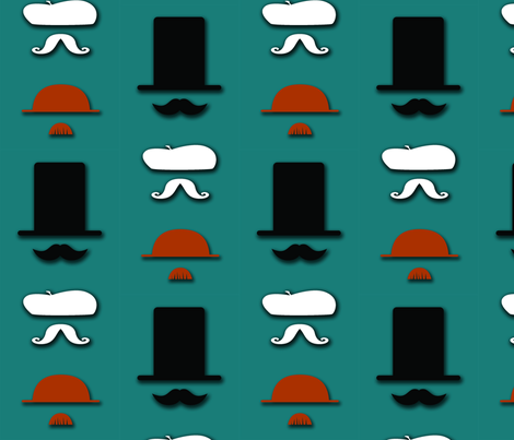 Mustacheo Teal fabric by pamela_hamilton on Spoonflower - custom fabric