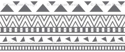 Grey And White Aztec Print Fabric Coramaedesign