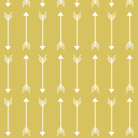 white arrows on olive yellow  fabric by coramaedesign on Spoonflower - custom fabric