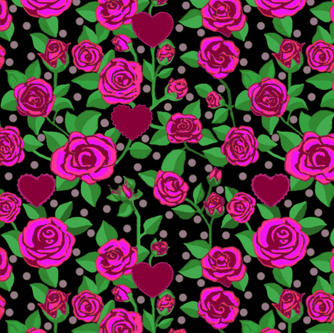 Magenta Pink rose floral // hearts //polka dots fabric by magentarosedesigns on Spoonflower - custom fabric