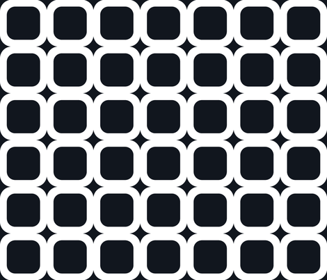 Retro Squared White on Black fabric by juliesfabrics on Spoonflower - custom fabric