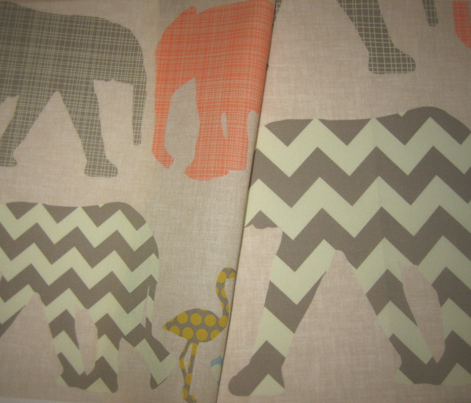 small linen baby elephants and flamingos