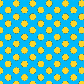 blue with yellow dots large