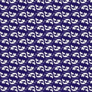 Mermaid Starfish Waves Navy Blue