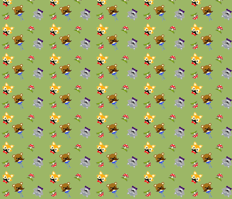 Mustached Woodland Animals  fabric by new_earth_baby on Spoonflower - custom fabric