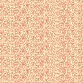 Cream Coral Rose Brocade
