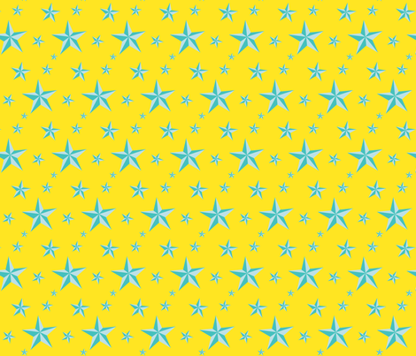 Stars in your eyes - Turquoise fabric by moirarae on Spoonflower - custom fabric