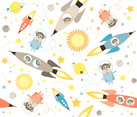 Apes in space fabric by heleenvanbuul on Spoonflower - custom fabric