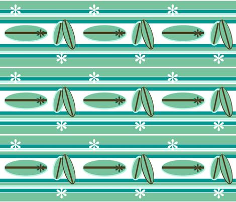 Retro Surfer  Blue/ white flower - small print fabric by drapestudio on Spoonflower - custom fabric
