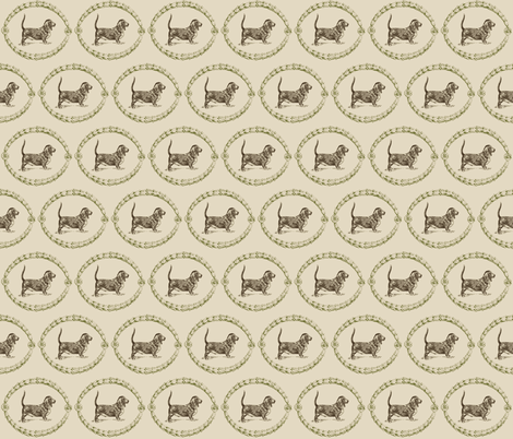 Basset-chocolate evergreen fabric by briarfield_designs on Spoonflower - custom fabric