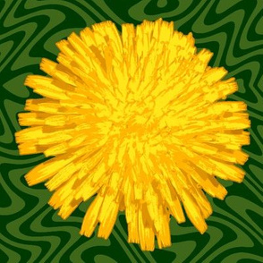 jumbo dandelions on green swirl