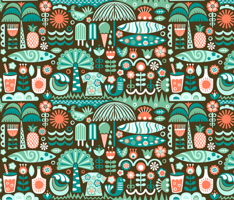 Scandinavian surf summer fabric christinewitte spoonflower for Swedish design shop