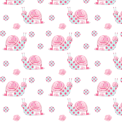 Shabby Chic Snails fabric by karenharveycox on Spoonflower - custom fabric