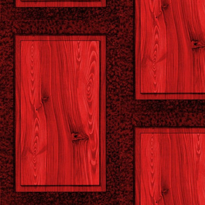 Fir Tree Wood Panel ~ Red  ~ Trompe l'Oeil
