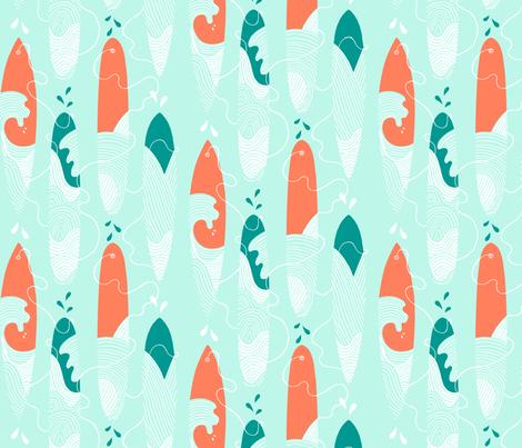 Surfing the waves half drop fabric by leoniehammerstein on Spoonflower - custom fabric