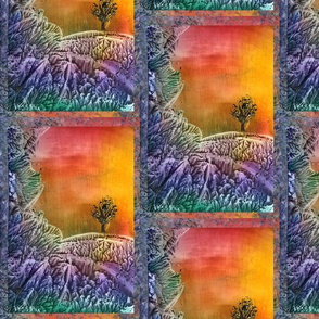 encaustic tree and rocks purple orange framed tiles
