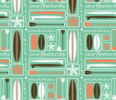 Surfboards, Starfish & Paddles  fabric by tessa's_textile_designs on Spoonflower - custom fabric