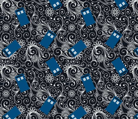Large Blue Phone Boxes and White Swirls on Black fabric by risarocksit on Spoonflower - custom fabric