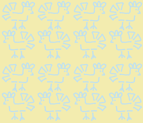 Chicken 3 Feathers Crosses the Road (butter yellow background fabric by anniedeb on Spoonflower - custom fabric