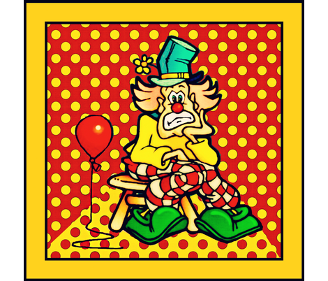 A clown and his balloon fabric by whimzwhirled on Spoonflower - custom fabric