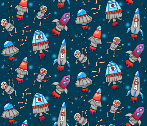 Intergalactic Space Pets fabric by run_quiltgirl_run on Spoonflower - custom fabric