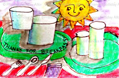 Sketch of breakfast items.