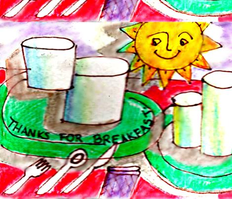 Sketch of breakfast items. fabric by frances_hollidayalford on Spoonflower - custom fabric
