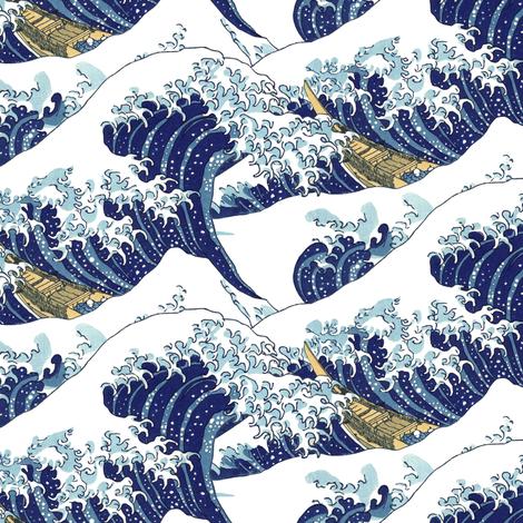 "the lesser waves of Hokusai (10"") fabric by weavingmajor on Spoonflower - custom fabric"