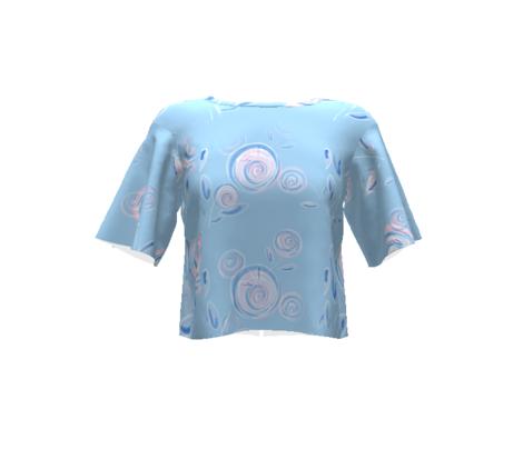 pink posies - soft blue