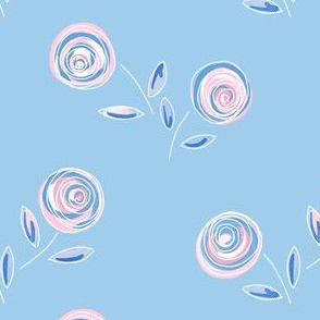 pink posies - soft blue