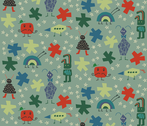 Space creatures fabric by bibette on Spoonflower - custom fabric