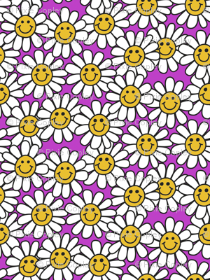 Pink Smiley Daisy Flower Pattern