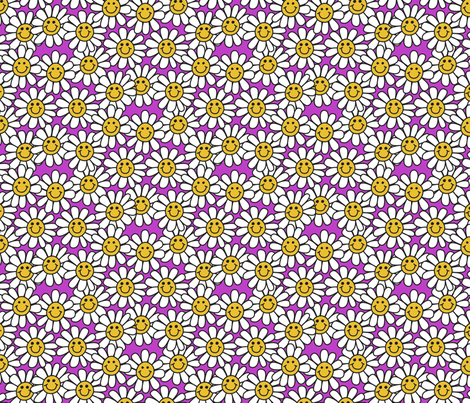 Pink Smiley Daisy Flower Pattern fabric by hippygiftshop on Spoonflower - custom fabric