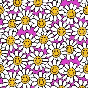 Pink Smiley Daisy Flower Pattern