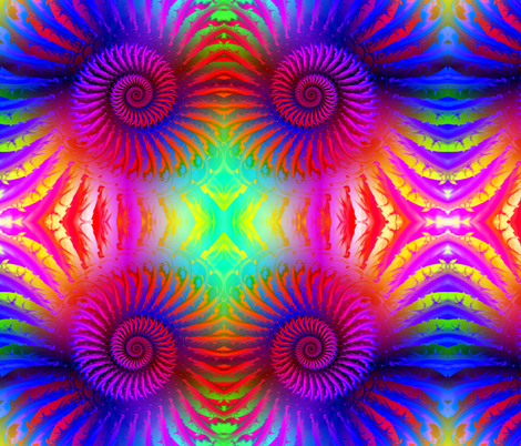 Rainbow Psychedelic Spiral Fractal Pattern fabric by hippygiftshop on Spoonflower - custom fabric